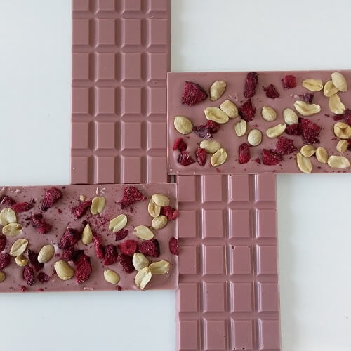 Ruby Chocolate 100g bar with Plum and Peanut